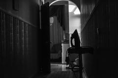 黑白铁走廊 库存照片