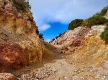 白陶土矿, Quattropani在利帕里岛,风神海岛,西西里岛,意大利 库存图片