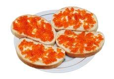 从白面包、黄油和鱼子酱的三明治 图库摄影