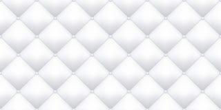 白革室内装饰品纹理样式背景 传染媒介葡萄酒沙发皮革室内装饰品按钮无缝的样式 向量例证