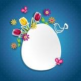 白鸡蛋和花 向量例证