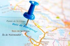白鹅在地图的de Bourgneuf 库存照片