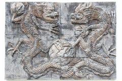 黑白龙砖墙纹理背景/墙壁文本 免版税库存图片