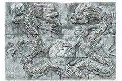 黑白龙砖墙纹理背景/墙壁文本 库存照片