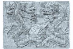 黑白龙砖墙纹理背景/墙壁文本 免版税图库摄影