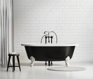 黑白经典浴缸 免版税图库摄影