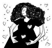 黑白年轻愉快的怀孕的妇女 库存照片