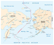 白令海峡的地图在俄罗斯和阿拉斯加之间的 皇族释放例证