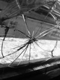 黑白破裂的玻璃窗格 库存图片
