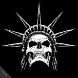 黑白刻记邪恶的传染媒介头骨面孔 免版税图库摄影