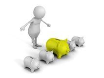 白3d人挑选绿色贪心金钱银行 免版税库存图片