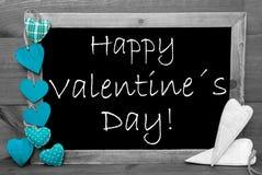 黑白Blackbord,绿松石心脏,愉快的情人节 图库摄影