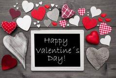 黑白Chalkbord,红色心脏,愉快的情人节 库存照片
