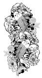 黑白Koi鲤鱼鱼传染媒介 图库摄影