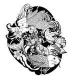 黑白Koi鲤鱼鱼传染媒介 库存图片
