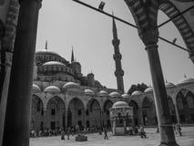 黑白Sultanahmet Cami蓝色的清真寺 免版税图库摄影