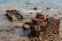 百万美元点,在看见的军用设备,一个普遍的潜水斑点 卢甘维尔埃斯皮里图Santo海岛瓦努阿图 图库摄影