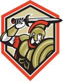 百人队队长罗马战士攻击的盾 免版税库存图片