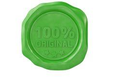 百分之一百原始的绿色蜡封印 3d例证 免版税图库摄影