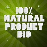 百分之一百自然产品生物标题 图库摄影