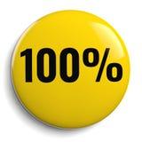 100%百分之一百黄色圆的标志 免版税图库摄影