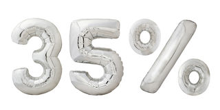 百分之三十五个镀铬物气球 图库摄影
