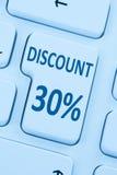 30%百分之三十折扣按钮优惠券销售网上购物我 免版税库存照片