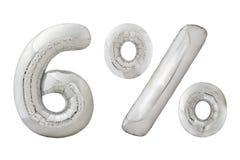 百分之六在白色的镀铬物金属气球 免版税图库摄影
