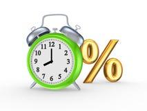 百分之和绿色手表的标志。 免版税库存照片