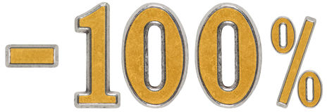 百分之 贴现 减100,一百,百分之 金属n 库存照片