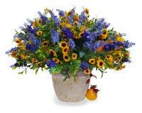 百合、向日葵和虹膜花束  免版税库存照片