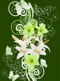 百合和蝴蝶在绿色背景 免版税库存图片