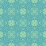 百合花环绕了在蓝绿色口气的无缝的样式背景 向量例证