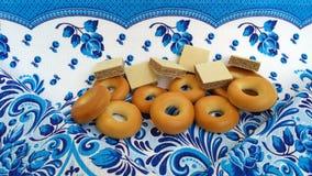 百吉卷和薄酥饼 库存图片