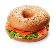 百吉卷新鲜的三明治 免版税库存图片