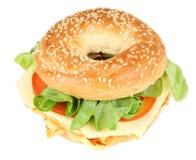 百吉卷新鲜的三明治 库存照片