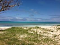 百慕大桃红色海滩,绿松石海洋 库存图片
