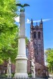百老汇南北战争纪念碑基督教会纽黑文康涅狄格 免版税库存照片