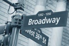 百老汇和西方第36路牌 库存照片