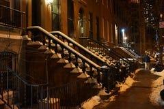 百老汇雪街道场面,纽约,纽约,美国 免版税库存照片