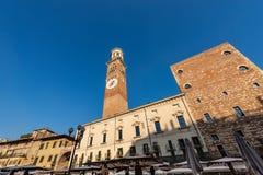百草广场和朗贝尔蒂塔-维罗纳意大利 免版税图库摄影