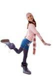 的一个美丽的女孩被编织的衣裳 免版税库存图片
