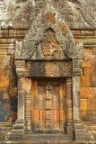 的下雨的大桶Phou,也书面的一部分Wat Phu,高棉印度templ 免版税库存图片