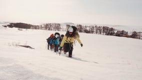 的不尽的积雪的领域驾驶您的方式的一个小组训练有素的登山人,上升的小山 股票录像
