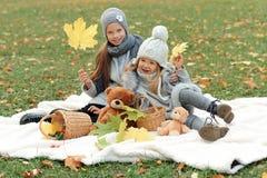 的两个女孩灰色盖帽在秋天公园安排一顿野餐在晚上 库存图片