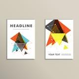 轻的书套 抽象传染媒介结构的打印的书,小册子,传单三角 库存图片
