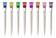 画的五颜六色的色的刷子,简单,在白色 向量例证