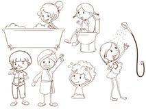 洗浴的人民的简单的剪影 免版税库存图片