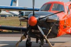 轻的企业涡轮螺旋桨发动机航空器 免版税库存照片