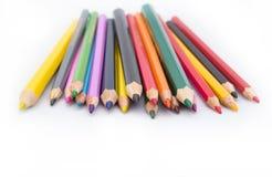 画的供应:被分类的颜色铅笔 图库摄影